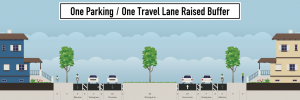 one travel lane with bumper
