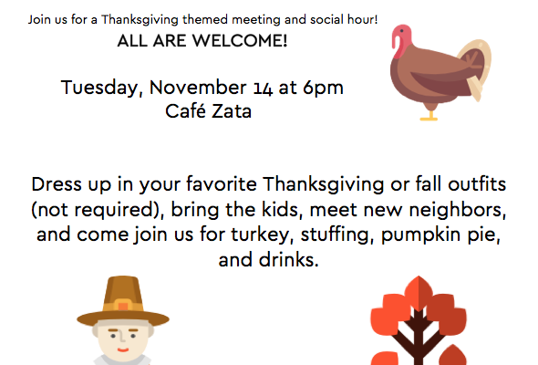 Thanksgiving Themed Neighborhood Party– This Tuesday, 11/14!