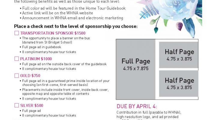 Do you own a business? Advertise in the WHNA Home Tour guidebook!